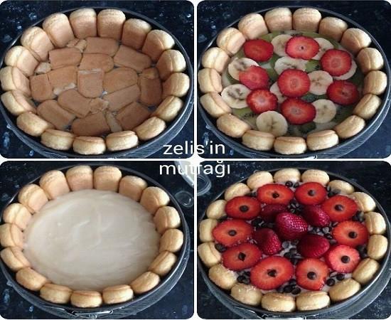 Kedidilli Meyveli Pasta Yapılışı